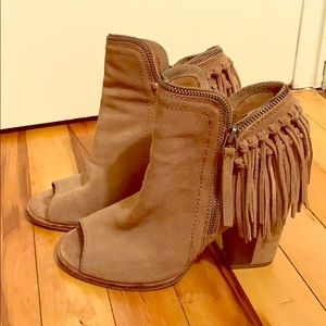 Tan chunky fringe booties, with zipper detailing